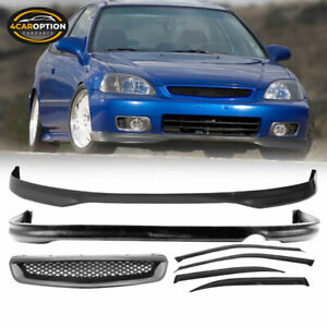 Fits 96 98 Honda Civic 4dr Front Rear Bumper Lip Abs Hood Grill Window Visor
