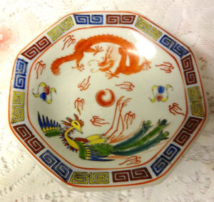 Old Qianlong Chinese Important 18th C Red Dragon Bird Plate Footed Dish