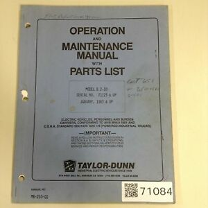 Taylor Dunn Manual Mb 210 01 Used 71084