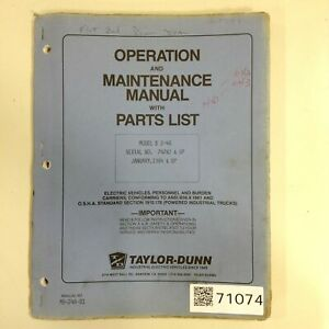 Taylor Dunn Manual Mb 248 01 Used 71074