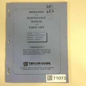 Taylor Dunn Operation And Maintenance Manual Mb 248 05 Used 71073