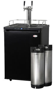 Kegco Digital Homebrew Kegerator Dual Faucet Black With Ball Lock Kegs