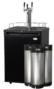 Kegco Digital Homebrew Kegerator Triple Faucet Black With Ball Lock Kegs