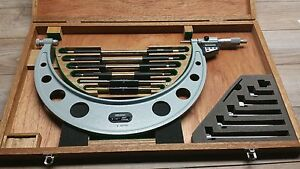 Mint Mitutoyo No 340 712 Interchangeable Micrometer 6 12 0001 Set