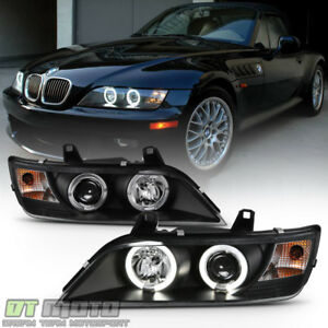 Black 1996 2002 Bmw Z3 Led Halo Projector Headlights Head Lamps Pair Left Right