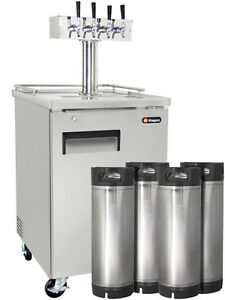 Four Tap Commercial Grade Home Brew Kegerator With Kegs Stainless Steel
