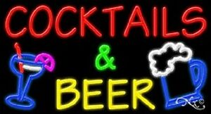 New cocktails Beer 37x20x3 W logo Real Neon Sign W custom Options 11678