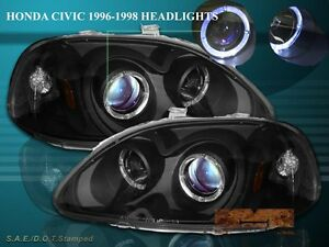 Fit For 96 98 Honda Civic Projector Headlights Two Halo Black 97