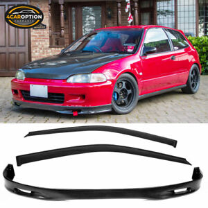 Fits 92 95 Civic 2 3dr Spoon Style Front Bumper Lip Spoiler Sun Window Visors