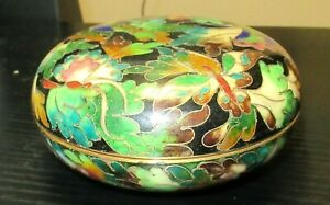 Rare Robert Kuo Japanese Cloisonne Enamel Floral Butterfly Design Box Signed