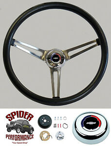 1955 1956 Chevy Steering Wheel Red White Blue Bowtie 15 Muscle Car Stainless