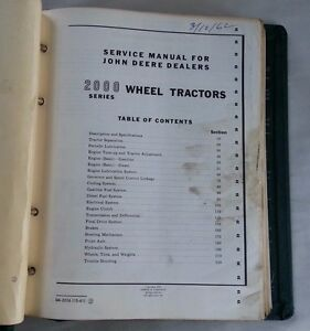 1960 s John Deere 2000 Series Wheel Tractor Service Manual w Vintage Jd Binder