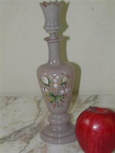 Antique Victorian Opaline Glass Hand Painted Enamel Lily Of The Valley Decanter