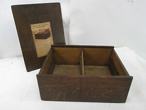 Vintage National Cash Register Credit System Oak File Box For Retail Sales