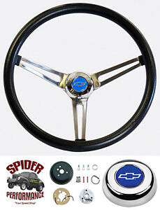 1955 1956 Chevy Steering Wheel Blue Bowtie Grant 15 Muscle Car Stainless Wheel