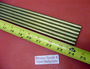 6 Pieces 3 8 C360 Brass Solid Round Rod 24 Long New Lathe Bar Stock 375