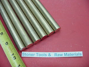 6 Pieces 1 2 C360 Brass Solid Round Rod 10 Long New Lathe Bar Stock 1 2 Hard
