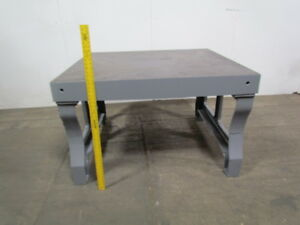 Vintage Steel Welding Layout Work Bench Assembly Inspect Table Castiron 48x55x35