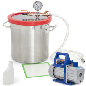 4cfm 1 3hp Vacuum Pump With 5 Gal Vacuum Chamber Silicone Degassing Expoxy Set
