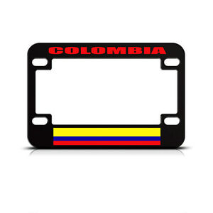 Metal Bike License Plate Frame Colombia Flag Country Motorcycle Accessories