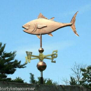 Fancy Copper Tuna Fish Weathervane W Brass Directional Made In Usa 346