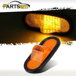 Amber 24led 6 Truck Trailer Reflective Mid Turn Signal Marker Light Flush Mount