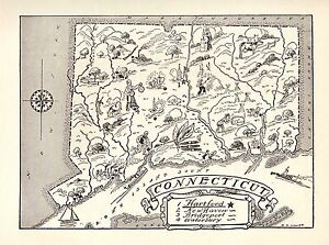 1950s Animated Antique Connecticut State Map Connecticut Cartoon Map Bw 2337