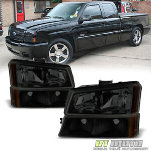 Black Smoke 2003 2006 Chevy Silverado Avalanche Headlights Bumper Lamps 4pc Set
