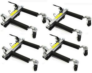 4 Pc Hydraulic Car Dollies 12 Wheel Lift Positioning Jack Auto Dolly Hoist Set