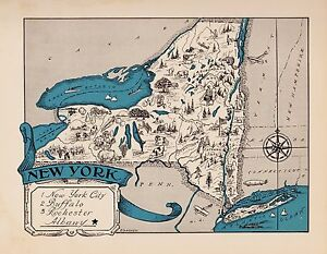 1930s Antique Animated New York Picture Map Vintage Map Of New York Blu 2440