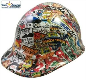 New 3d dipped Cap Style Hard Hat With Ratchet Suspension Sticker Bomb Quatro