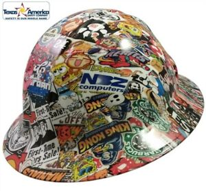 New 3d dip Full Brim Hard Hat With Ratchet Suspension Sticker Bomb Quatro