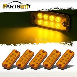 5x 4 8led Clearance Side Marker Light Indicator Lamp Truck Trailer Lorry Amber