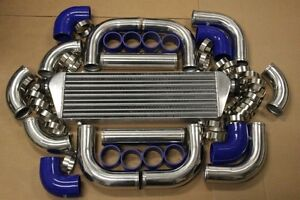 Chrome Fimc Intercooler Turbo Piping Kit Blue Silicone Couplers T Bolt Clamps