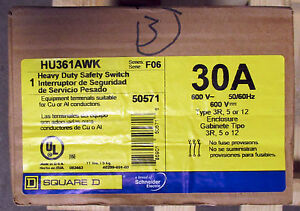 O Square D 30 Amp Safety Switch Hu361awk 5 12 Or 3r Outdoor Nib New