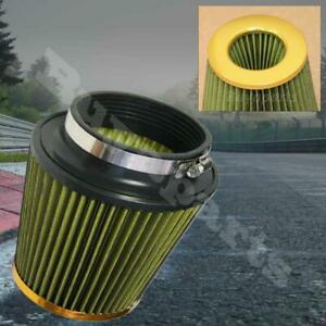 4 Inch Inlet Short Ram Cold Intake Round Cone Mesh Air Filter Gold Yellow