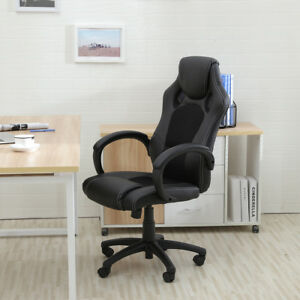 Race Car Style Bucket Seat Office Chair High Back Executive Swivel Black Leather