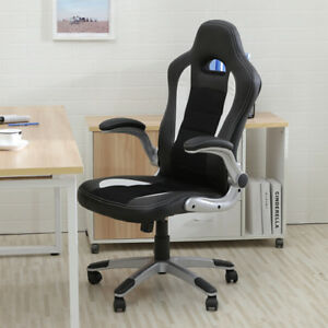 New Executive Racing Style Bucket Seat Pu Leather Office Chair Home 360 Swivel