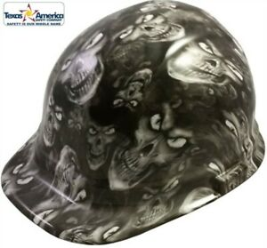 Hydro Dipped Cap Style Hard Hat W Ratchet Suspension Hades Skulls White