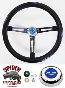 67 68 Chevelle Chevy Ii El Camino Steering Wheel Blue Bow 15 Muscle Car Chrome