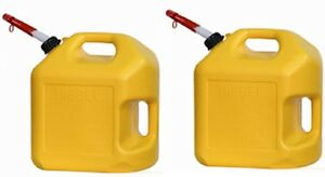 2 Ea Midwest 8600 5 Gallon Yellow Poly Diesel Fuel Can Containers W Spouts
