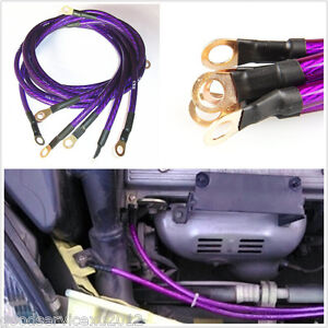 5 Point Purple Vehicles Grounding Wire Performance Cable System Modification Kit