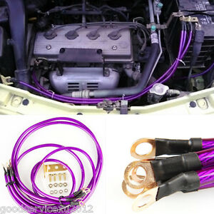 Practical Purple 5 Point Automobiles Super Power Earth Wire Grounding Cable Kit