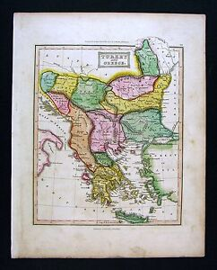 C 1824 Ewing Antique Atlas Map Turkey In Europe Greece Rumania Bulgaria Athens