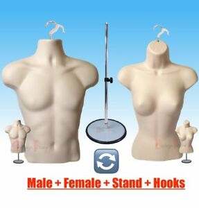Lot 2 Mannequin Male Female Hanger Form Stand display Apparel T shirt flesh