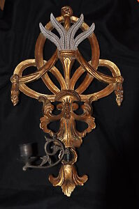 Decorative Gilt Wall Sconce W Candle Holder Friedman Brothers Style