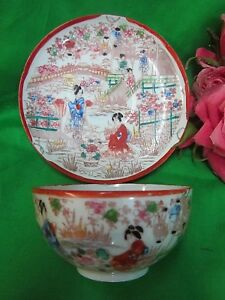 Antique Intricate Hand Painted Cup Saucer Japan Nippon Geisha Bridges Lanterns