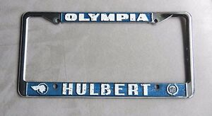 Olympia Hulbert Cadillac Dealership License Plate Frame Chrome Tag Holder Metal