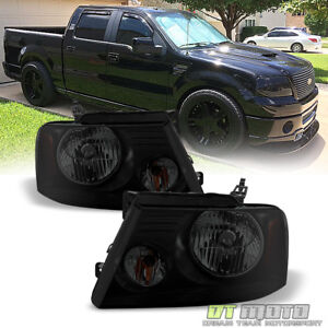 Blk Smoke 2004 2008 Ford F150 Truck Headlights Left right 06 08 Lincoln Mark Lt