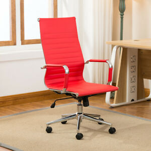 Red Modern High back Ribbed Upholstered Pu Leather Executive Office Chair Desk